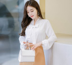 [W] Attrangs Bs3209 Neckline Rebon Blouse (Ivory) 1ea