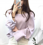 [W] Square Neck Pastel Blouse