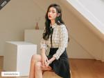 [W] COMMON UNIQUE Elegant Tweed Ribbon Tie Blouse 1ea