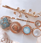 [R]  Blue gemstones Laurel antique metal hairpin SET