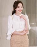 [R] Neckline tie pearl decorative blouse (#IVORY-FREE)