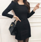 [R] Mellomang Square Neck A-Line Dress #black