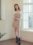[R] CHLODMANON Off Shoulder Check Shirts Dress  #BEIGE