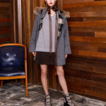 [W] ELANDMALL CLOVIS CHECK COMBI HOOD CAPE COAT Black Size 85