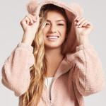 [W] FOREVER 21 Fleece bear hoodie Taupe 1ea