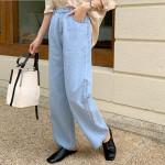 [R] 66girls Cotton Fabric Straight Cut Pants