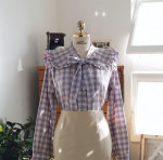[S] MILKCOCOA Girlish lavender check blouse #Lavender Color 1ea
