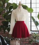 [W] MILKCOCOA Flare Skirt Red 1ea