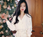 [W] MILKCOCOA pearl detail blouse Ivory 1ea