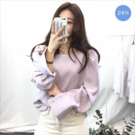 [S] Square Neck Pastel Blouse #Light Purple Color 1ea