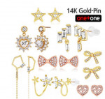 [W] NEEGEE 1+1 14K Gold-Pin Cubic Earring #5 (Limited Sale)