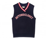 [W] BEYOND CLOSET Preppy Logo Vest 2017 Winter Navy