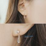 [W] SOO & SOO Karne Cristal Silver Earing