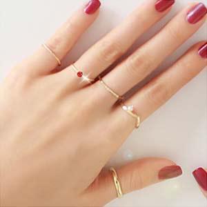 4xtyle Song I Layered Ring (Free Size) 5 piece 1set RI042-JA26