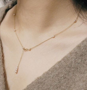 [R] Less is more Y PEARL 14K GOLDFILLED NECKLACE