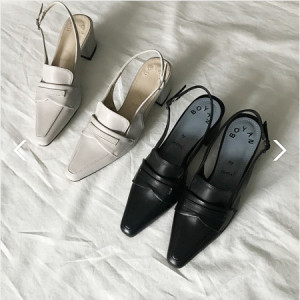 [W] French Chic Loafer Slingback (Color : Black, Size : 230) 1ea
