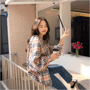 [W] RANIFIT Checked Blouse 1ea