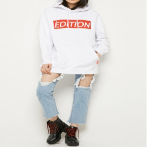 [W] LAP EDITION Lettering Logo Hooded (AJ2CTS54) 1ea - White XL