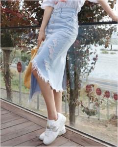 [W] Chlo.d.manon Long Denim Skirt 1ea