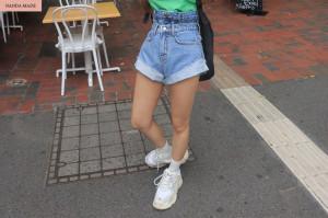 [W] STYLENANDA Rolled Cuff Faux Layer Denim Shorts 1ea