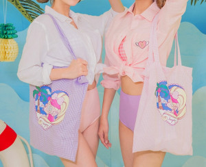 [W] CHUU LeeGong Pool Party Check Land Bag 1ea