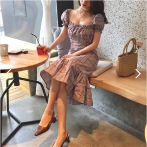 [W] Square Neck Puff Sleeve Check Hem Ruffle Mermaid Line Dress 1ea