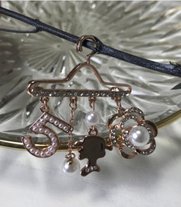 [W] Coco shah Pearl Hangers Brooch 1ea_Rose Gold