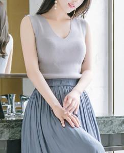 [W] ATTRANGS V-Neck Sleeveless Knit T Shirts 1ea
