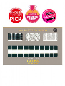 [W] DASHING DIVA Gloss Gel Nail Strip DGNP_40 - Khaki Tartan