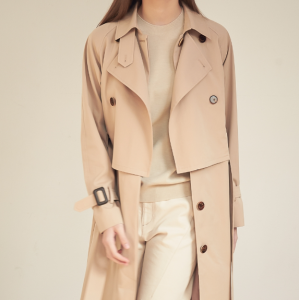 [R] ACUD Gaia Layered Trench Coat_Beige 1ea