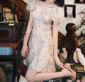 [R] MILK COCOA Amelie Dress Line Apricot Flower Mini Dress 1ea