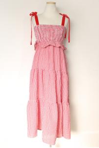 [R] FEMMEMUSE Frill Ribbon Smocked Dress 1ea