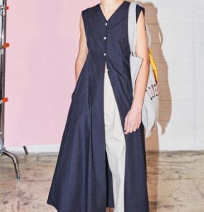 [R] NOHANT Inside Out Sleeveless Shirt Dress Navy 1ea