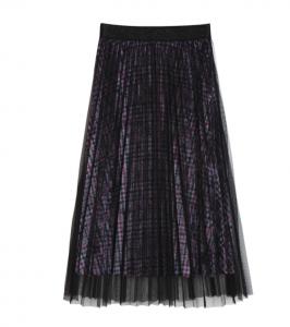 [R] ZERO STREET Check Velvet Sha Pleats Long Skirt 1ea