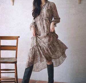[R] MILK COCOA Amelie Dress Line.Vintage Garden Maxi-Dress 1ea