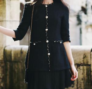 [R] MILK COCOA Only Milkcocoa.1457-Black Coco Tweed Dress 1ea