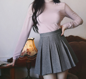 [R] MILK COCOA Winter herringbone Pleats Skirt 1ea