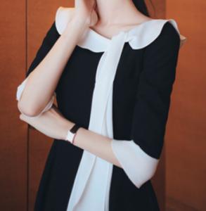 [R] MILK COCOA Amelie Dress Line Lady Black Ribbon Flare Dress 1ea