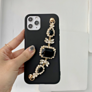[R] Black Cubic Chain Strap Jelly Case 1ea