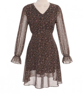 [R] ATTRANGS V neck flare back ribbon dress