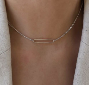 [R]  See-through horizontal slim bar chain silver necklace