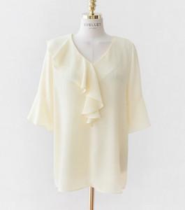 [R]  Alilden v ruffle blouse# yellow #J1 (66-77)