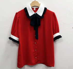 [R] Coy Ribbon Basic Blouse  #RED