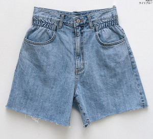 [R] CHUU Unique Waist Bending Denim shorts