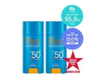 [Online Shop] SCINIC Enjoy Super Active Airy sun stick  SPF50+/PA++++ 15ml (1+1)
