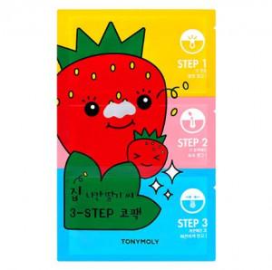 TONYMOLY Homeless Strawberry Seeds 3-Step Nose Pack