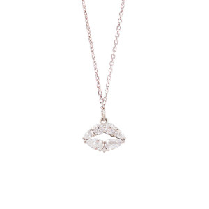 [R] NOONOO FINGERS Crystal Lip Silver Necklace