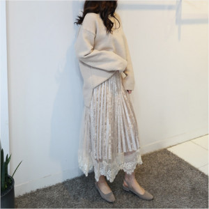 [R] IAMSUK Lace Velvet Banding Long Pleated Pleated Skirt 1ea