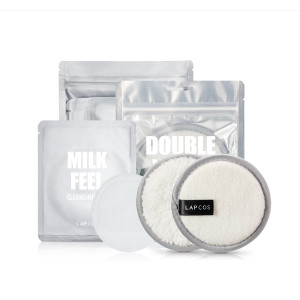 [W] THEAMALL LAPCOS Double Wash Cleansing Pad + (Milk Feel Cleansing Pad 7g*10ea) 220g